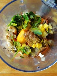 soupe crue carotte persil noix de cajou gingembre